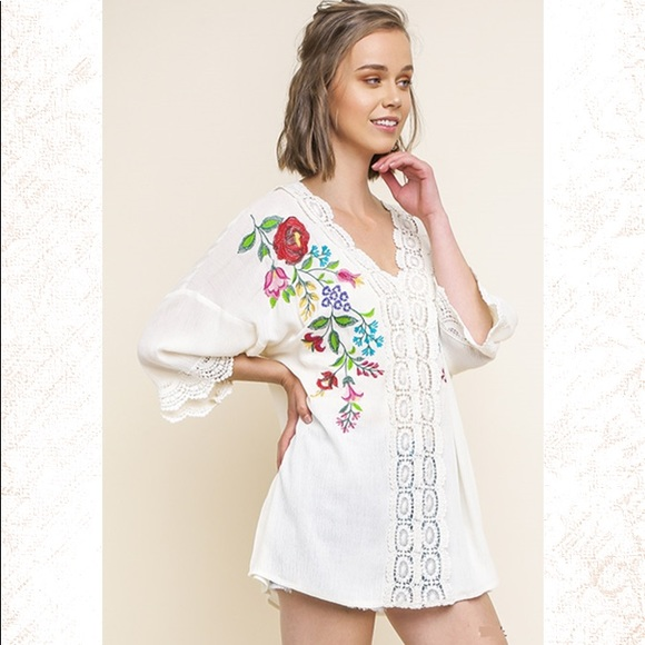 a1b600260b23c Floral Embroidered Cream V-Neck Tunic by UMGEE
